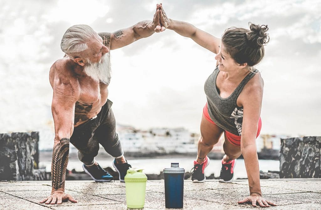 Couple working out and staying fit
