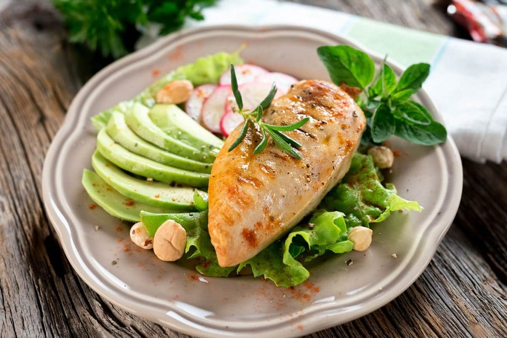Grilled chicken breast offers high protein content