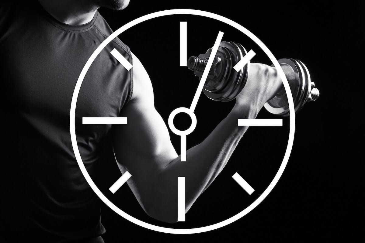 Clock illustration with a man exercising in the background
