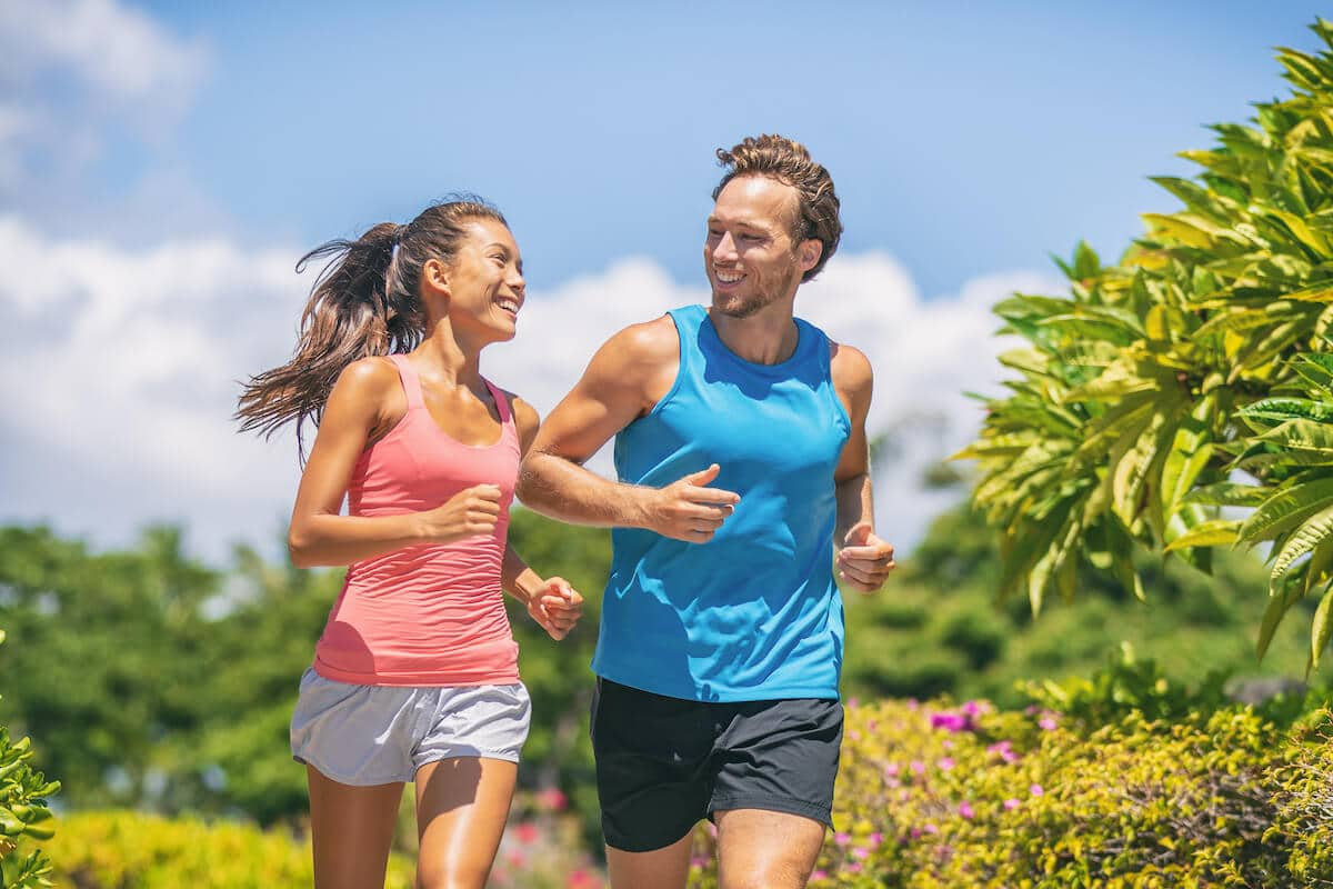 How is pea protein made: couple running outdoors