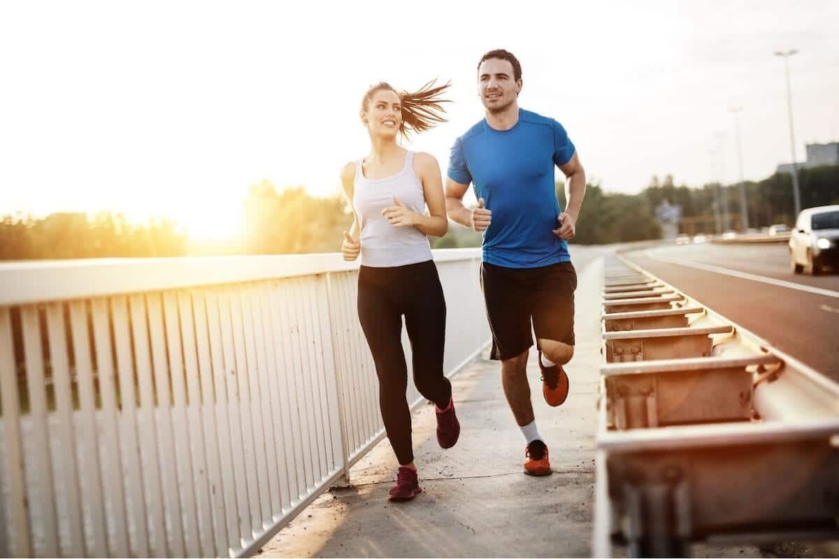 Leucine vs isoleucine: couple running outdoors