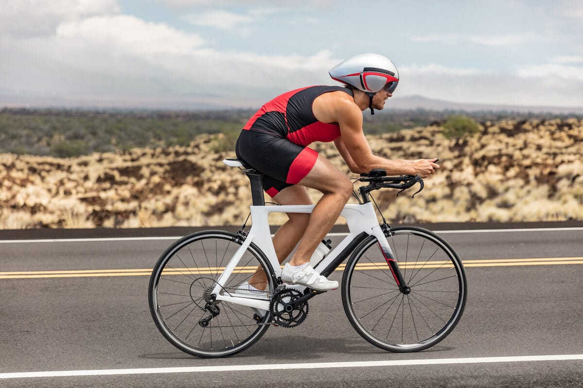 Leucine supplement: cyclist on the road