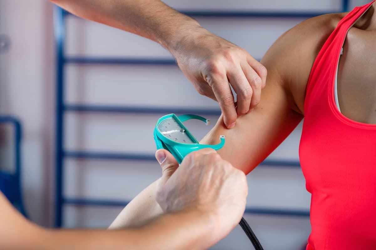 Lean muscle: body fat test using caliper