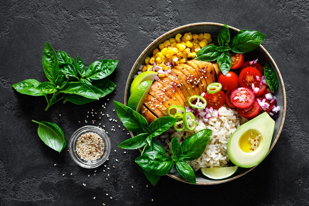 Are BCAAS worth it: healthy lunch bowl