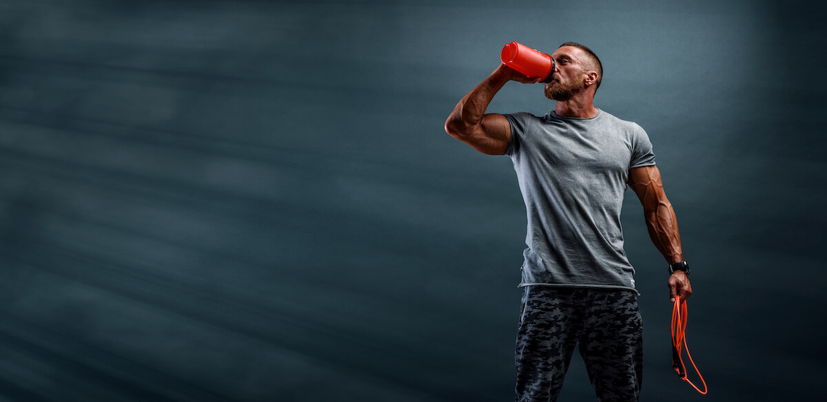 Hydrolyzed collagen: man drinking from a tumbler