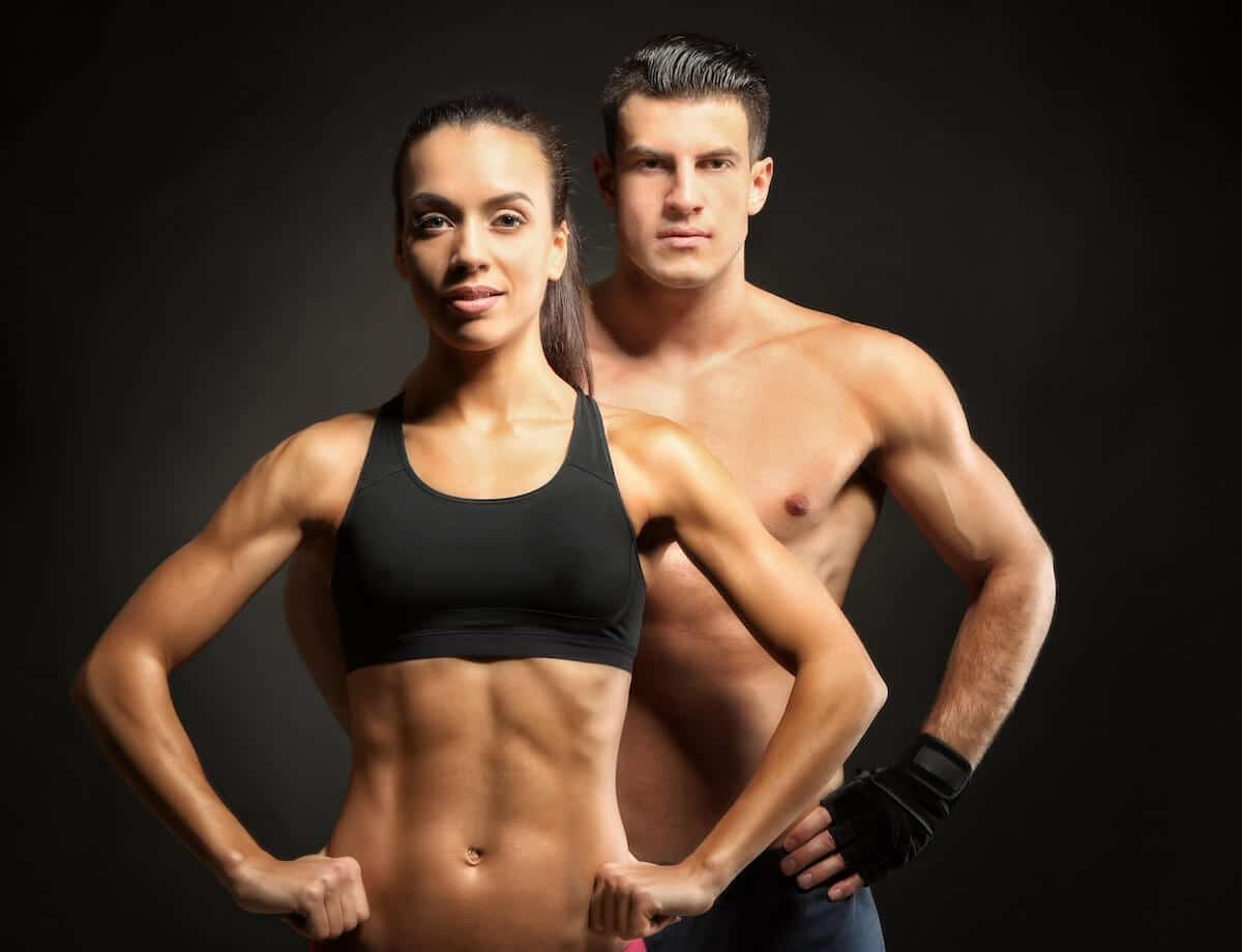 Couple with lean muscle